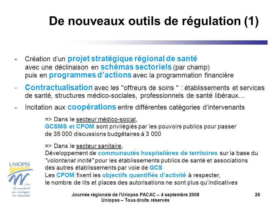 Journée régionale de lUriopss PACAC – 4 septembre 2008 Uniopss – Tous droits réservés 26 De nouveaux outils de régulation (1) -Création dun projet str