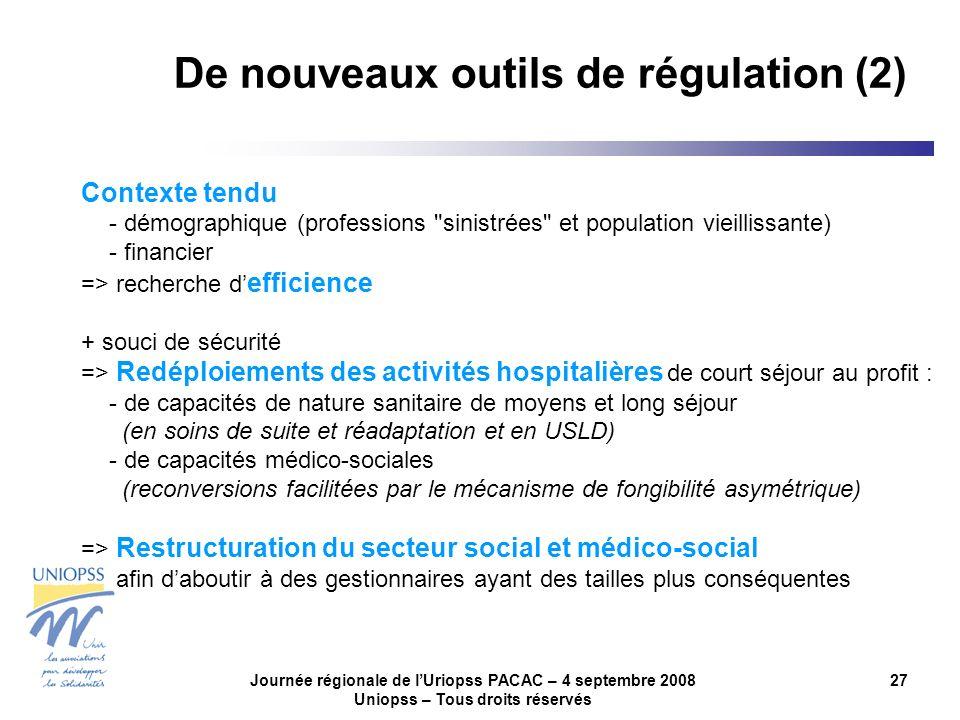 Journée régionale de lUriopss PACAC – 4 septembre 2008 Uniopss – Tous droits réservés 27 Contexte tendu - démographique (professions