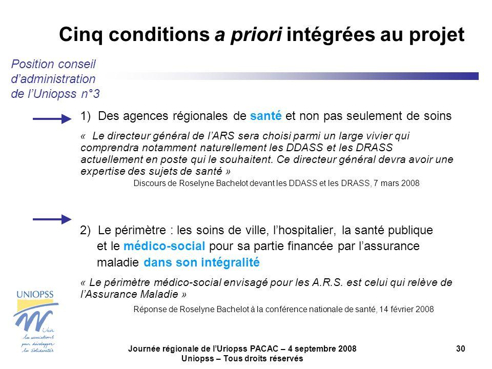 Journée régionale de lUriopss PACAC – 4 septembre 2008 Uniopss – Tous droits réservés 30 1) Des agences régionales de santé et non pas seulement de so