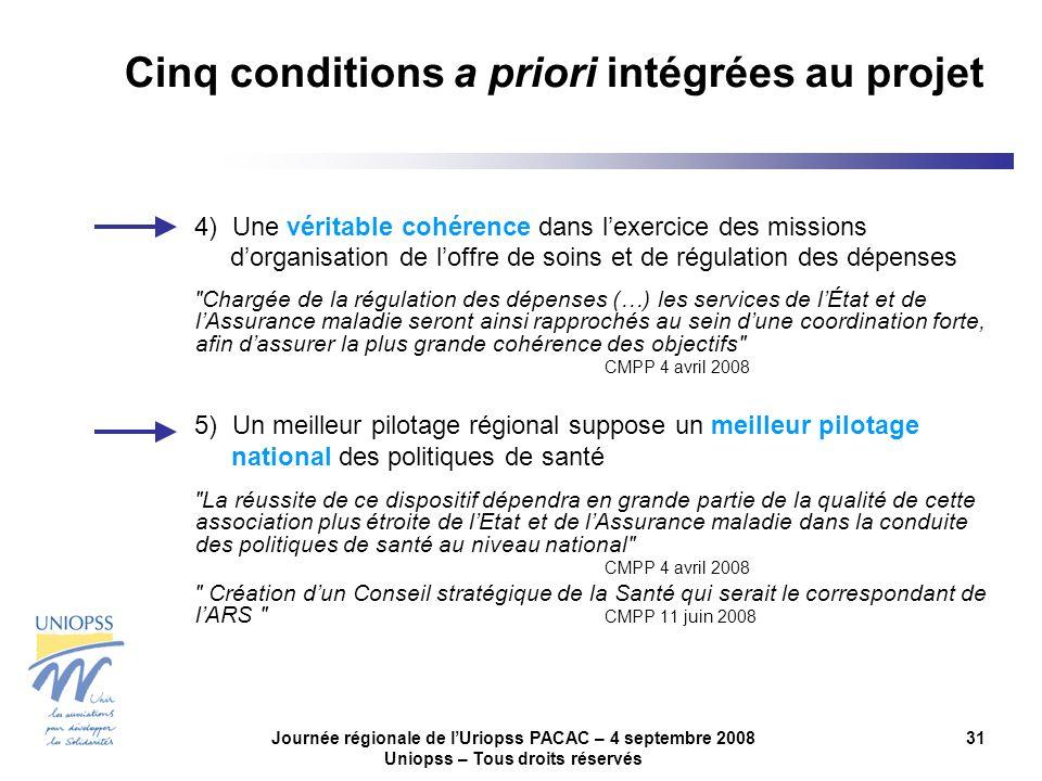 Journée régionale de lUriopss PACAC – 4 septembre 2008 Uniopss – Tous droits réservés 31 4) Une véritable cohérence dans lexercice des missions dorgan