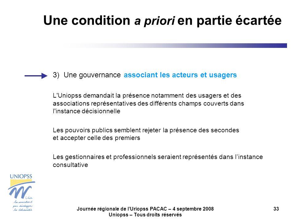 Journée régionale de lUriopss PACAC – 4 septembre 2008 Uniopss – Tous droits réservés 33 3) Une gouvernance associant les acteurs et usagers L'Uniopss