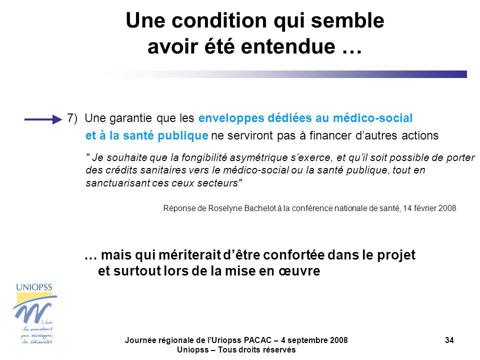 Journée régionale de lUriopss PACAC – 4 septembre 2008 Uniopss – Tous droits réservés 34 7) Une garantie que les enveloppes dédiées au médico-social e