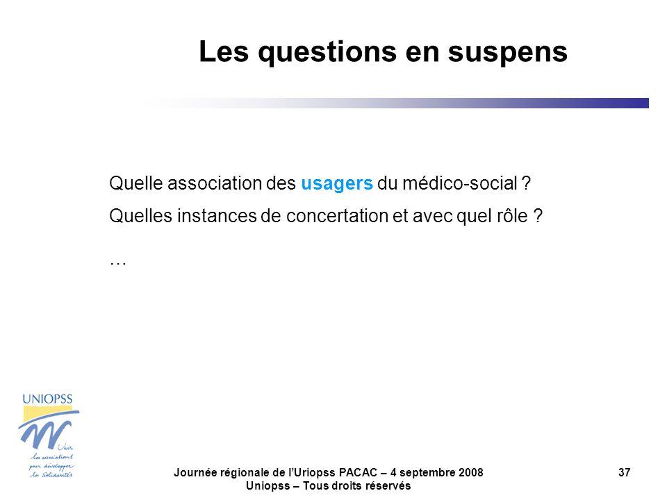 Journée régionale de lUriopss PACAC – 4 septembre 2008 Uniopss – Tous droits réservés 37 Quelle association des usagers du médico-social ? Quelles ins
