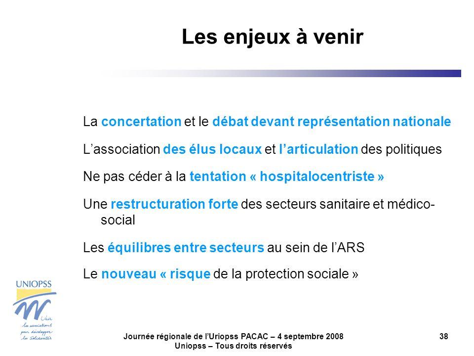 Journée régionale de lUriopss PACAC – 4 septembre 2008 Uniopss – Tous droits réservés 38 La concertation et le débat devant représentation nationale L