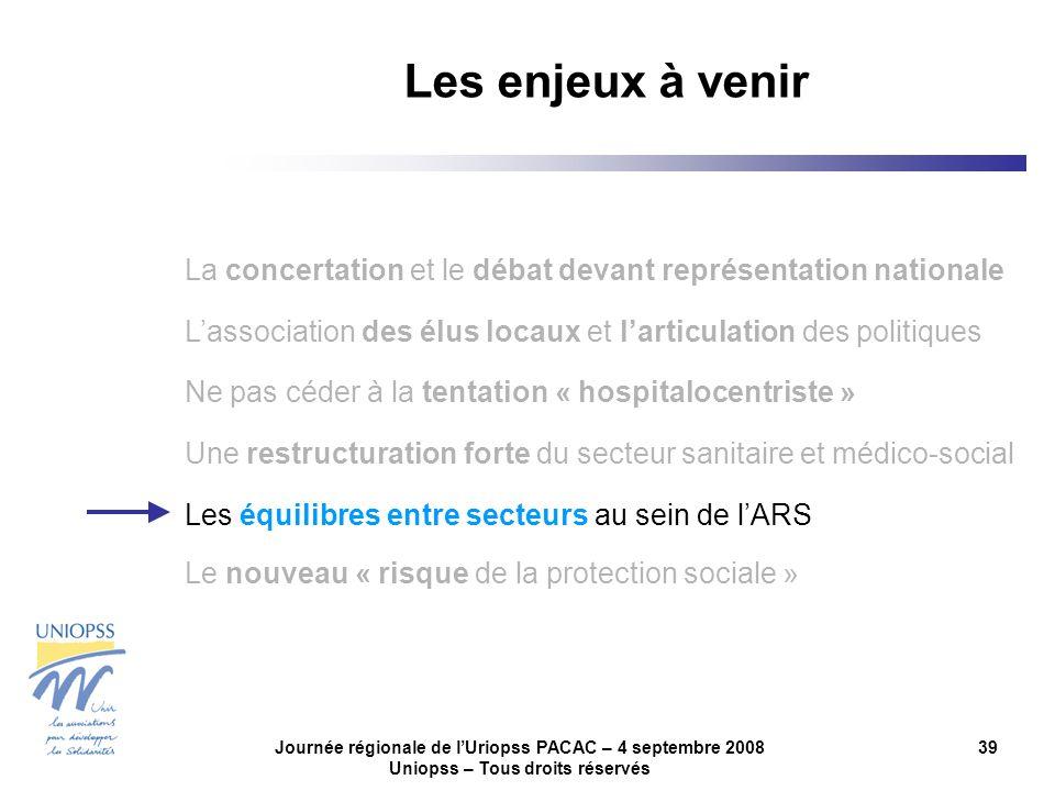 Journée régionale de lUriopss PACAC – 4 septembre 2008 Uniopss – Tous droits réservés 39 Les enjeux à venir La concertation et le débat devant représe