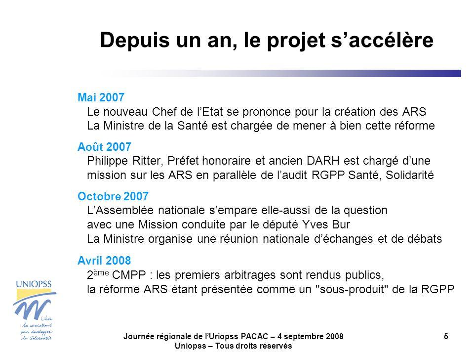 Journée régionale de lUriopss PACAC – 4 septembre 2008 Uniopss – Tous droits réservés 5 Depuis un an, le projet saccélère Mai 2007 Le nouveau Chef de