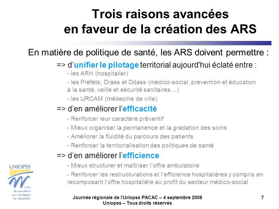 Journée régionale de lUriopss PACAC – 4 septembre 2008 Uniopss – Tous droits réservés 7 Trois raisons avancées en faveur de la création des ARS => dun