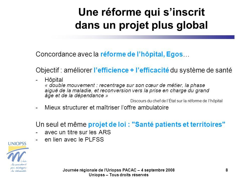 Journée régionale de lUriopss PACAC – 4 septembre 2008 Uniopss – Tous droits réservés 8 Une réforme qui sinscrit dans un projet plus global Concordanc