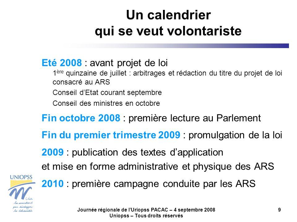 Journée régionale de lUriopss PACAC – 4 septembre 2008 Uniopss – Tous droits réservés 9 Un calendrier qui se veut volontariste Eté 2008 : avant projet