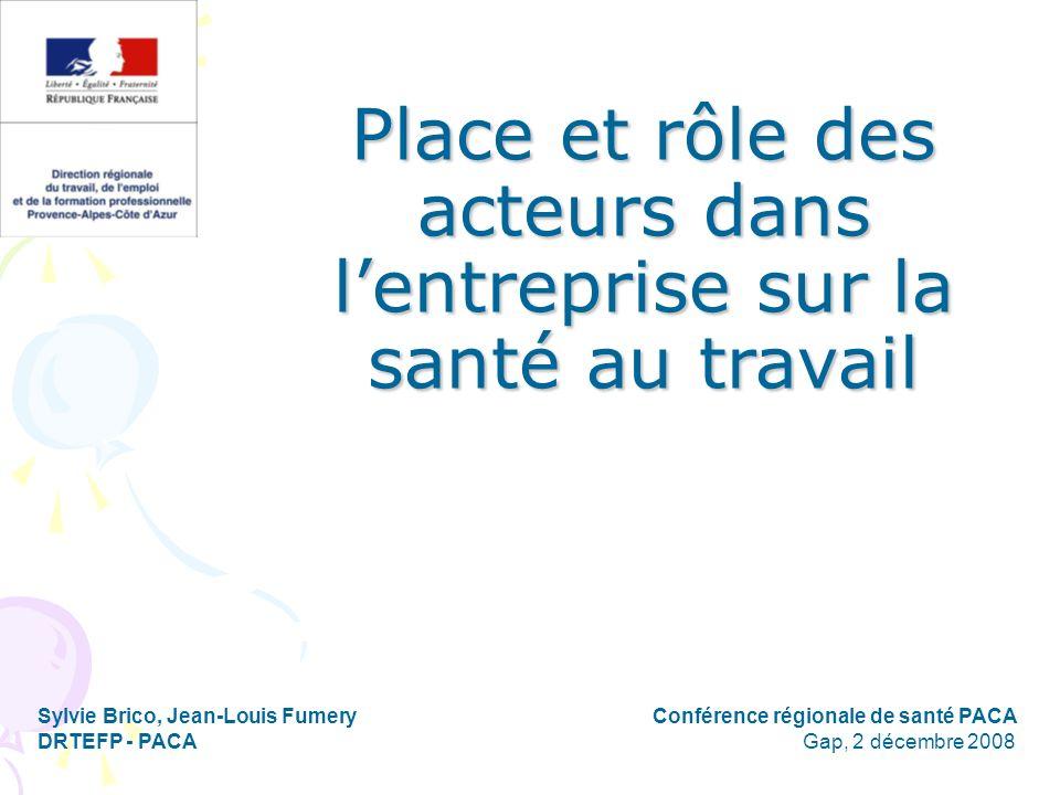 Place et rôle des acteurs dans lentreprise sur la santé au travail Sylvie Brico, Jean-Louis Fumery Conférence régionale de santé PACA DRTEFP - PACA Ga