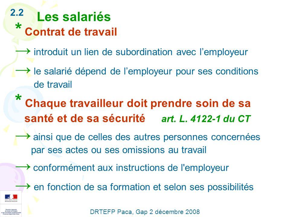 2.2 Les salariés * Contrat de travail introduit un lien de subordination avec lemployeur le salarié dépend de lemployeur pour ses conditions de travai