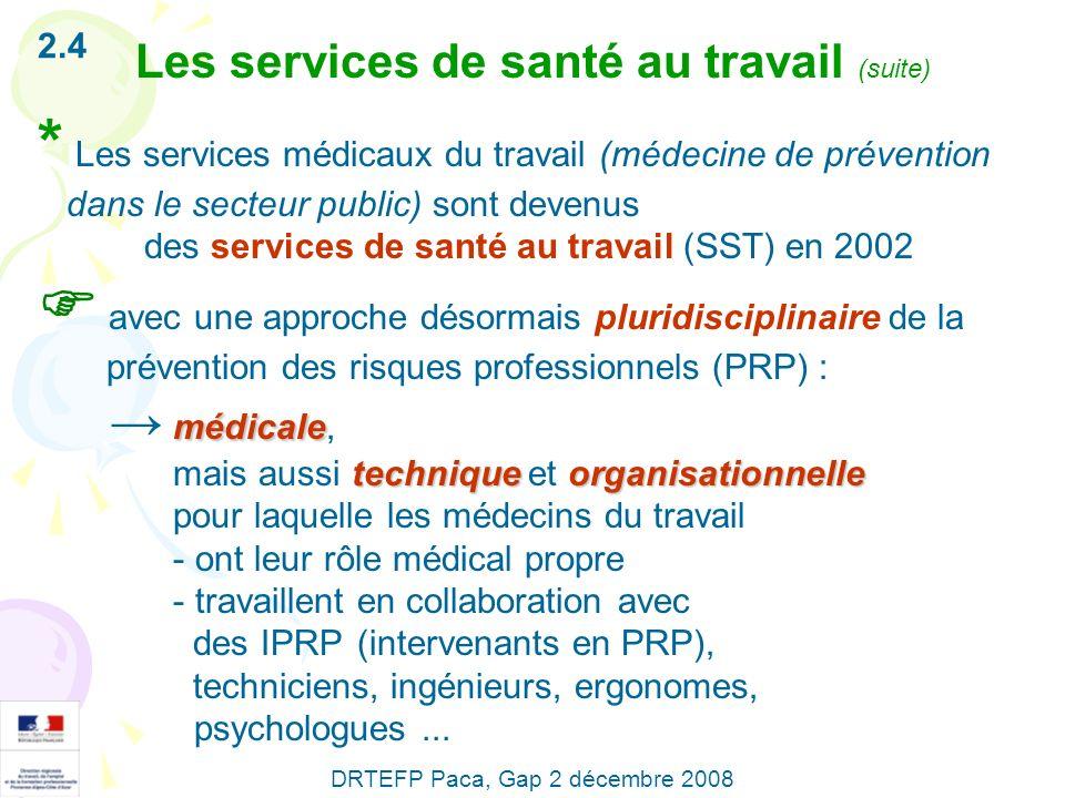 Les services de santé au travail (suite) 2.4 * Les services médicaux du travail (médecine de prévention dans le secteur public) sont devenus des servi