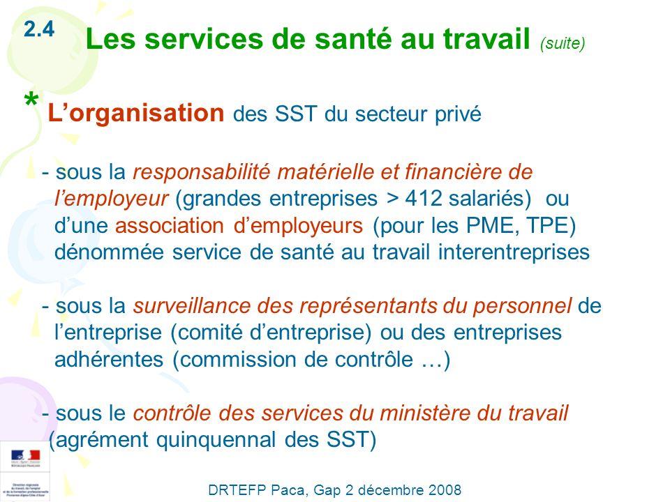 * Lorganisation des SST du secteur privé - sous la responsabilité matérielle et financière de lemployeur (grandes entreprises > 412 salariés) ou dune