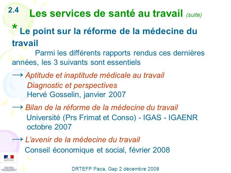 2.4 Les services de santé au travail (suite) * Le point sur la réforme de la médecine du travail Parmi les différents rapports rendus ces dernières an