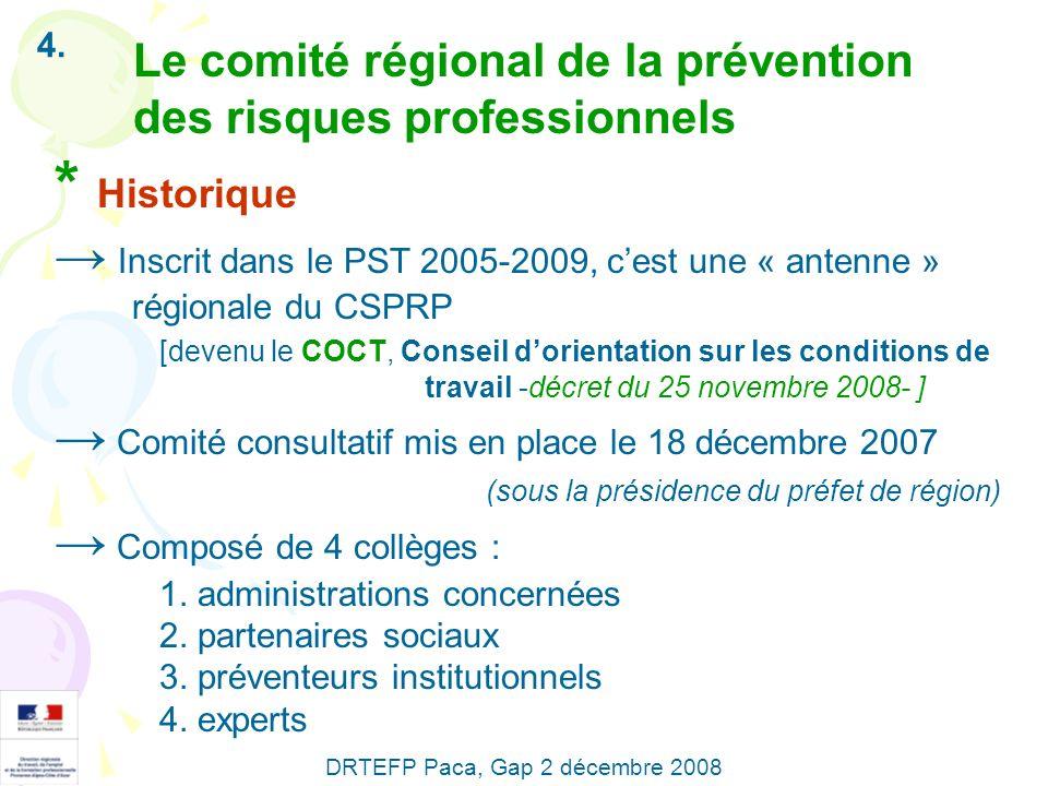 4. Le comité régional de la prévention des risques professionnels * Historique Inscrit dans le PST 2005-2009, cest une « antenne » régionale du CSPRP