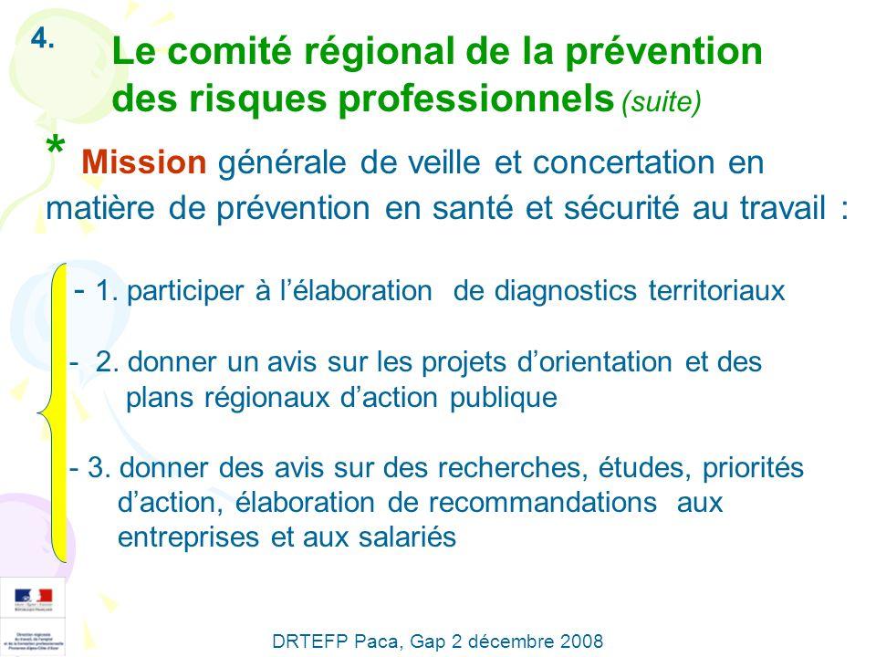 4. Le comité régional de la prévention des risques professionnels (suite) * Mission générale de veille et concertation en matière de prévention en san