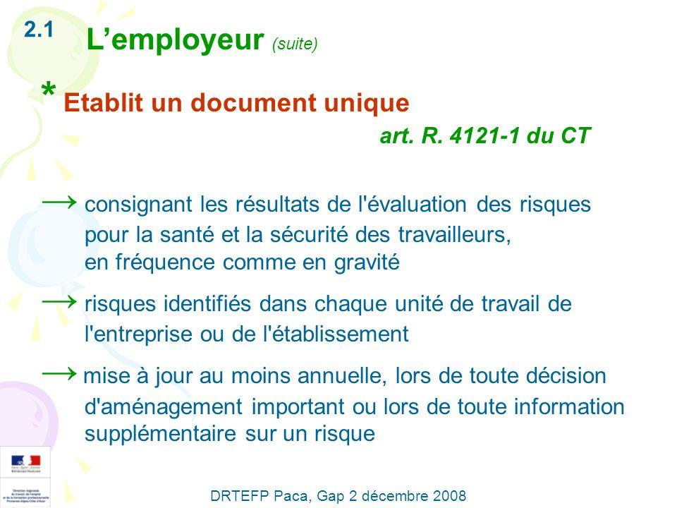 * Etablit un document unique art. R. 4121-1 du CT consignant les résultats de l'évaluation des risques pour la santé et la sécurité des travailleurs,