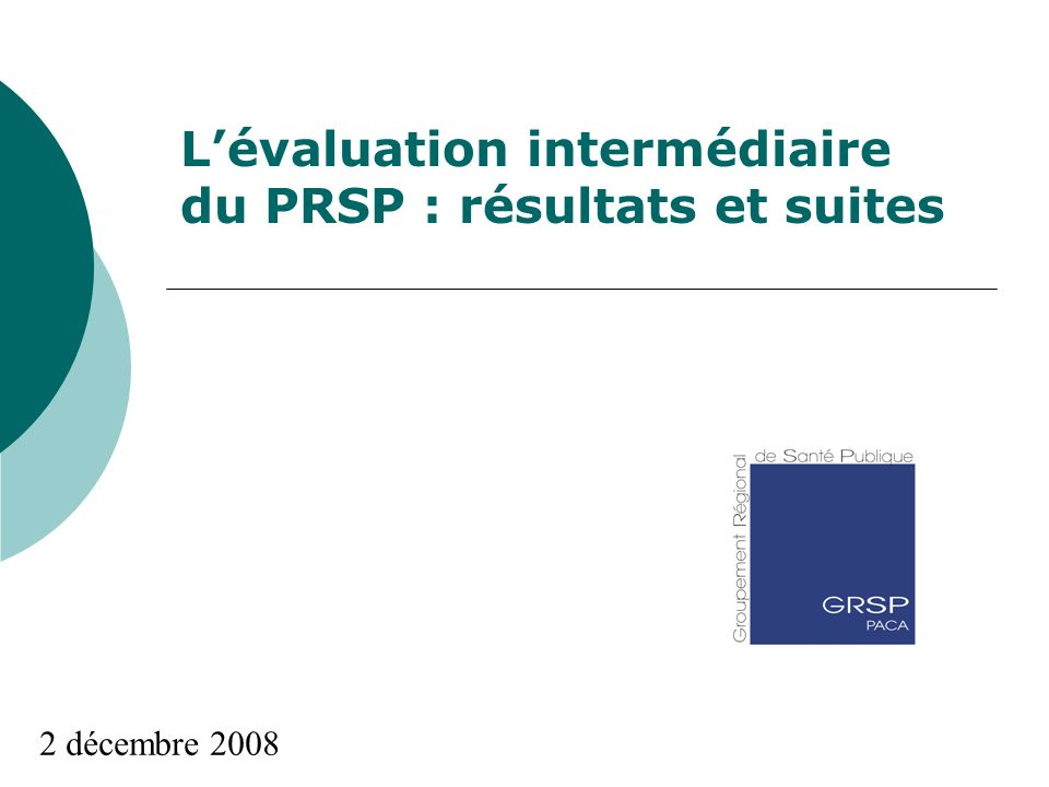 Lévaluation intermédiaire du PRSP : résultats et suites 2 décembre 2008