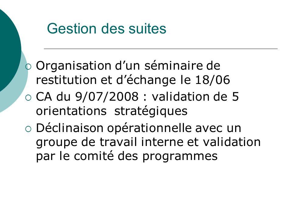 Gestion des suites Organisation dun séminaire de restitution et déchange le 18/06 CA du 9/07/2008 : validation de 5 orientations stratégiques Déclinaison opérationnelle avec un groupe de travail interne et validation par le comité des programmes