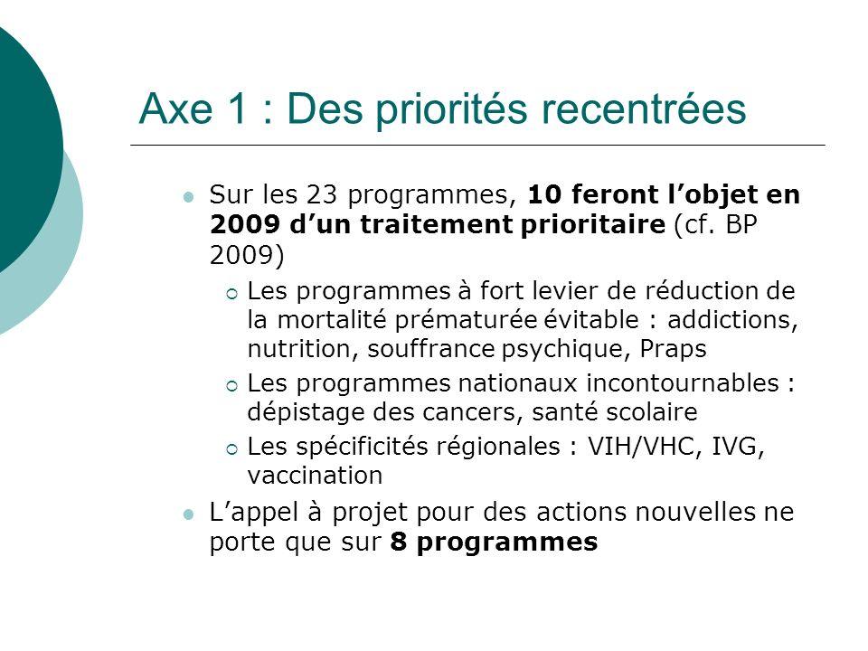 Axe 1 : Des priorités recentrées Sur les 23 programmes, 10 feront lobjet en 2009 dun traitement prioritaire (cf.