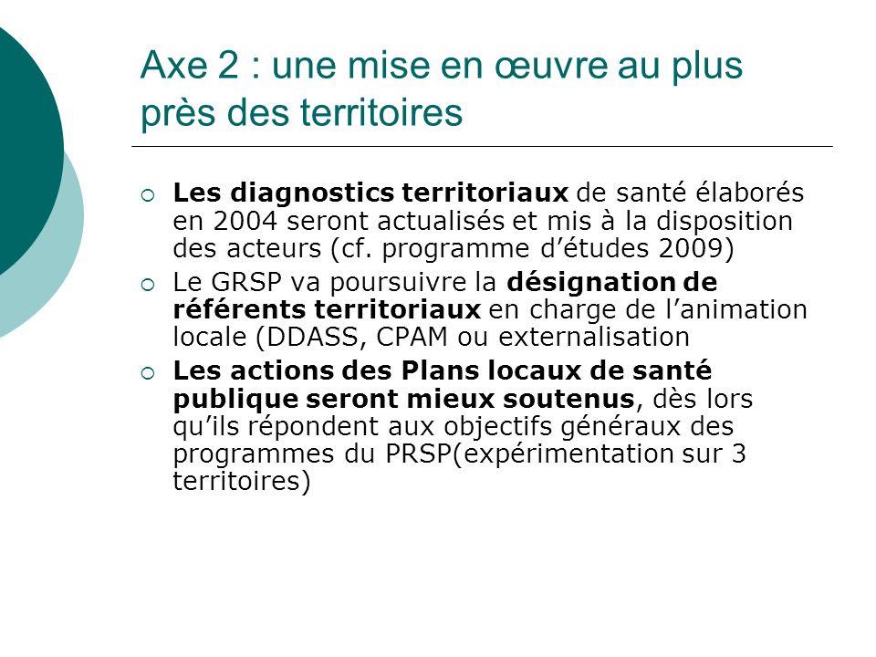 Axe 2 : une mise en œuvre au plus près des territoires Les diagnostics territoriaux de santé élaborés en 2004 seront actualisés et mis à la disposition des acteurs (cf.