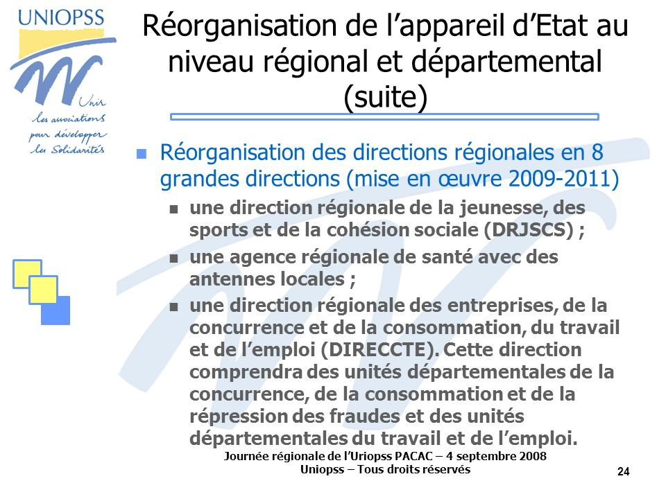 Journée régionale de lUriopss PACAC – 4 septembre 2008 Uniopss – Tous droits réservés 24 Réorganisation de lappareil dEtat au niveau régional et départemental (suite) Réorganisation des directions régionales en 8 grandes directions (mise en œuvre 2009-2011) une direction régionale de la jeunesse, des sports et de la cohésion sociale (DRJSCS) ; une agence régionale de santé avec des antennes locales ; une direction régionale des entreprises, de la concurrence et de la consommation, du travail et de lemploi (DIRECCTE).