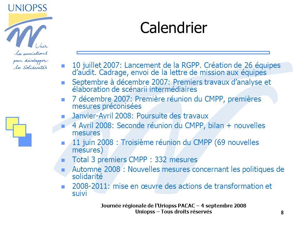 Journée régionale de lUriopss PACAC – 4 septembre 2008 Uniopss – Tous droits réservés 8 Calendrier 10 juillet 2007: Lancement de la RGPP.