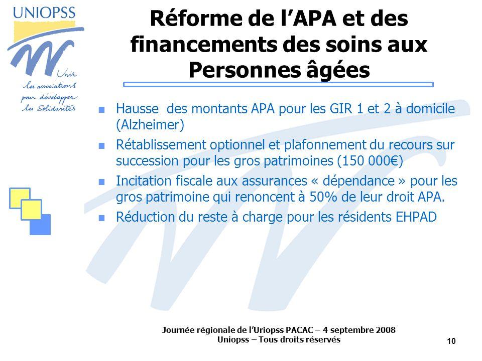 Journée régionale de lUriopss PACAC – 4 septembre 2008 Uniopss – Tous droits réservés 10 Réforme de lAPA et des financements des soins aux Personnes â