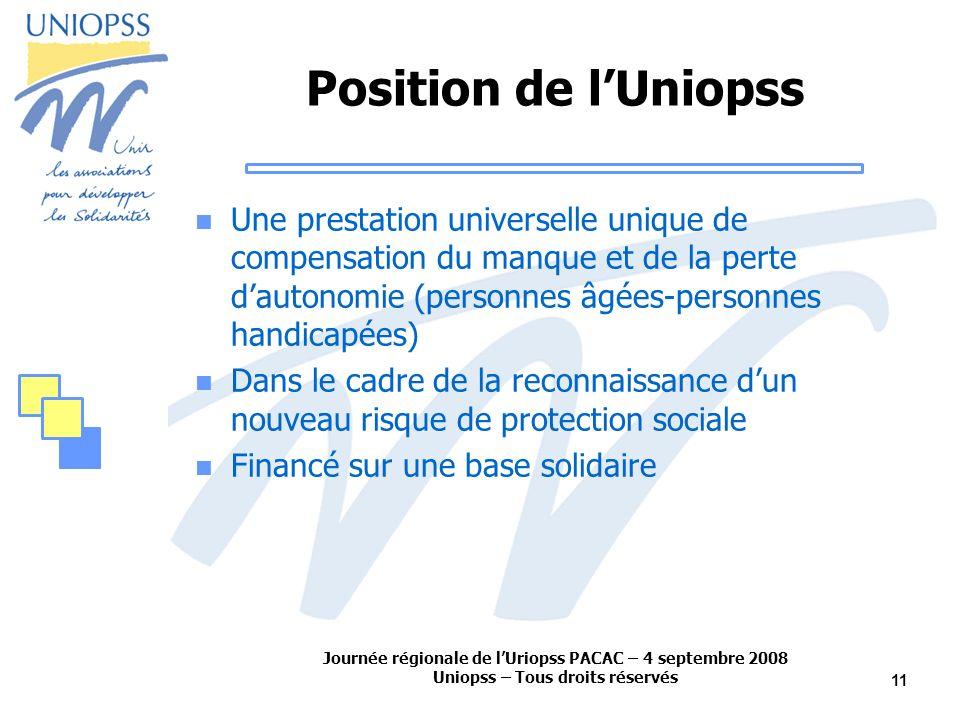 Journée régionale de lUriopss PACAC – 4 septembre 2008 Uniopss – Tous droits réservés 11 Position de lUniopss Une prestation universelle unique de com
