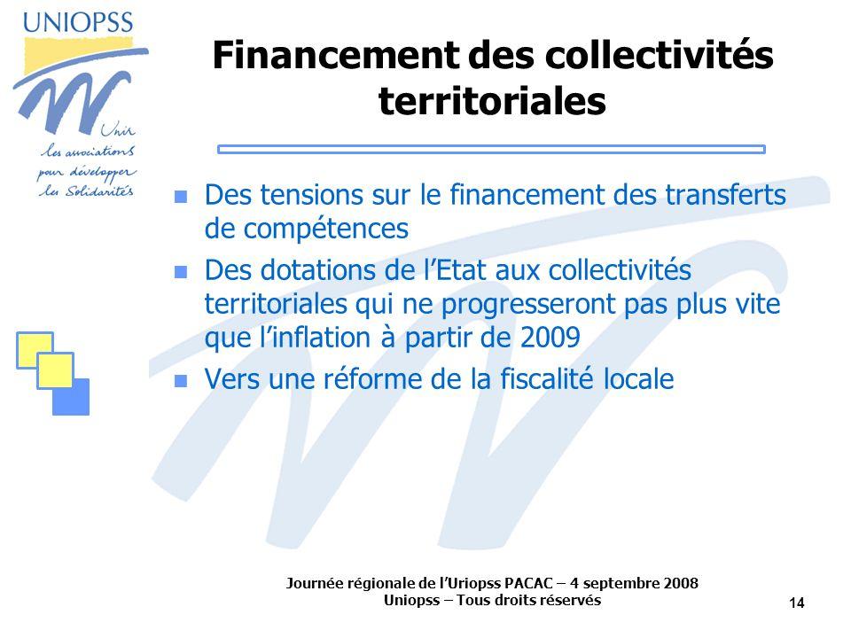 Journée régionale de lUriopss PACAC – 4 septembre 2008 Uniopss – Tous droits réservés 14 Financement des collectivités territoriales Des tensions sur