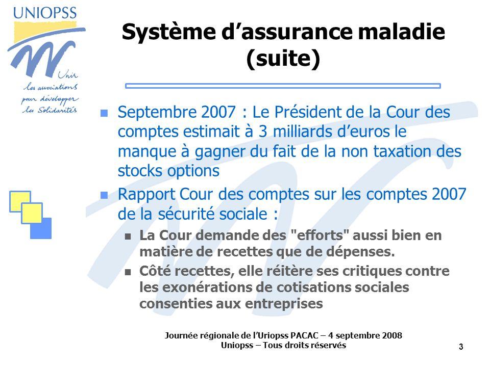 Journée régionale de lUriopss PACAC – 4 septembre 2008 Uniopss – Tous droits réservés 3 Système dassurance maladie (suite) Septembre 2007 : Le Préside