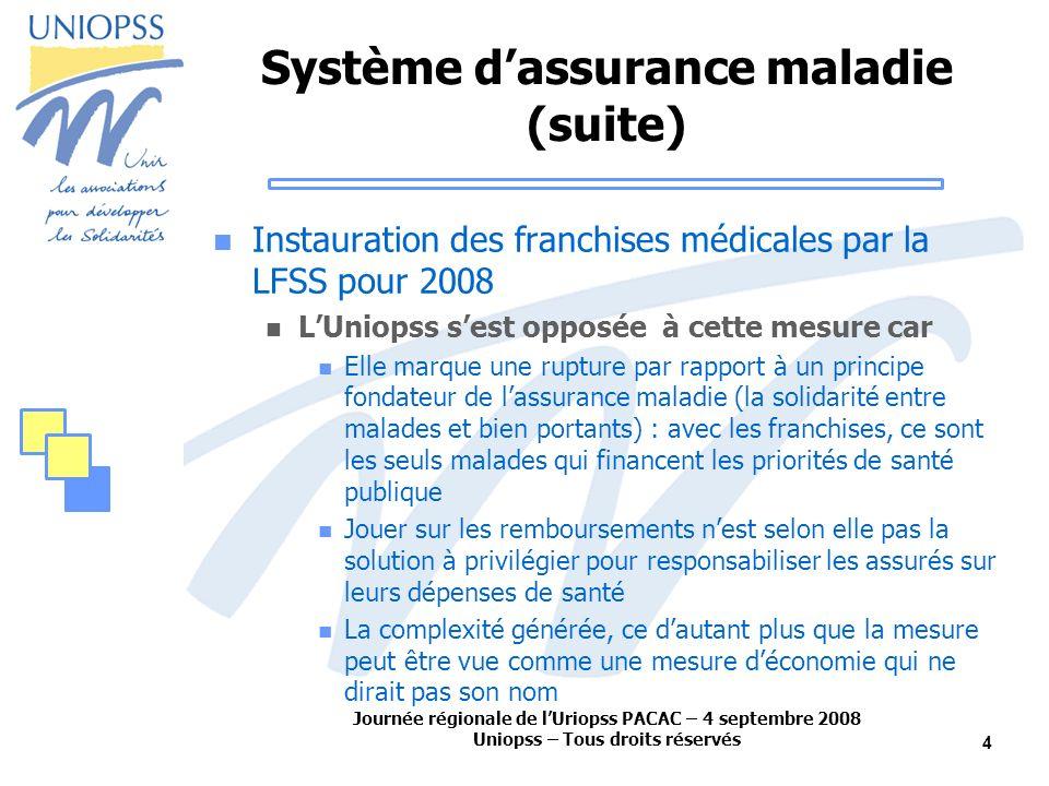 Journée régionale de lUriopss PACAC – 4 septembre 2008 Uniopss – Tous droits réservés 4 Système dassurance maladie (suite) Instauration des franchises