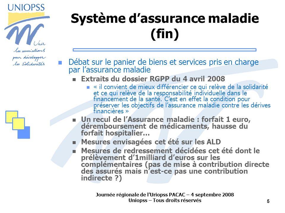 Journée régionale de lUriopss PACAC – 4 septembre 2008 Uniopss – Tous droits réservés 5 Système dassurance maladie (fin) Débat sur le panier de biens