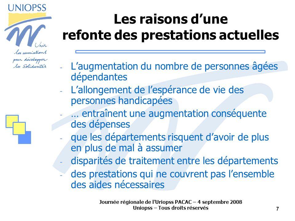 Journée régionale de lUriopss PACAC – 4 septembre 2008 Uniopss – Tous droits réservés 7 Les raisons dune refonte des prestations actuelles - Laugmenta
