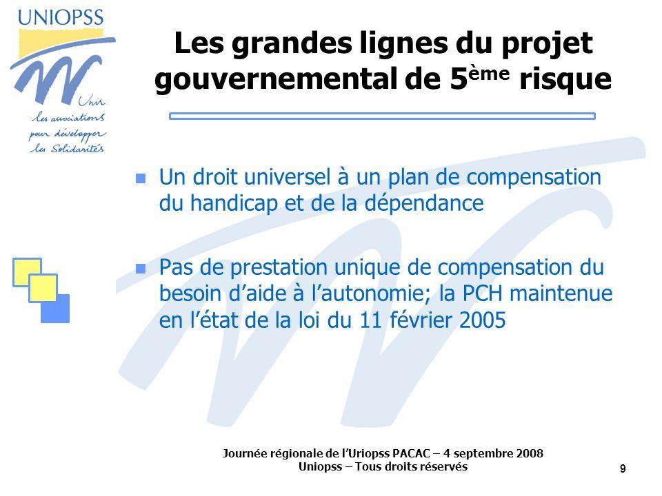 Journée régionale de lUriopss PACAC – 4 septembre 2008 Uniopss – Tous droits réservés 9 Les grandes lignes du projet gouvernemental de 5 ème risque Un