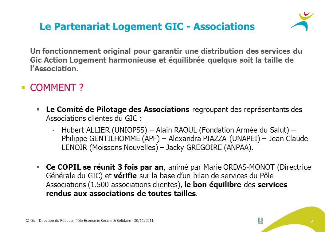 2 © Gic - Direction du Réseau - Pôle Economie Sociale & Solidaire - 30/11/2011 Le Partenariat Logement GIC - Associations Un fonctionnement original p
