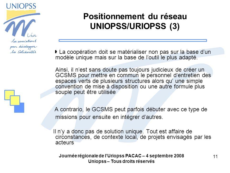 Journée régionale de lUriopss PACAC – 4 septembre 2008 Uniopss – Tous droits réservés 11 Positionnement du réseau UNIOPSS/URIOPSS (3) La coopération d