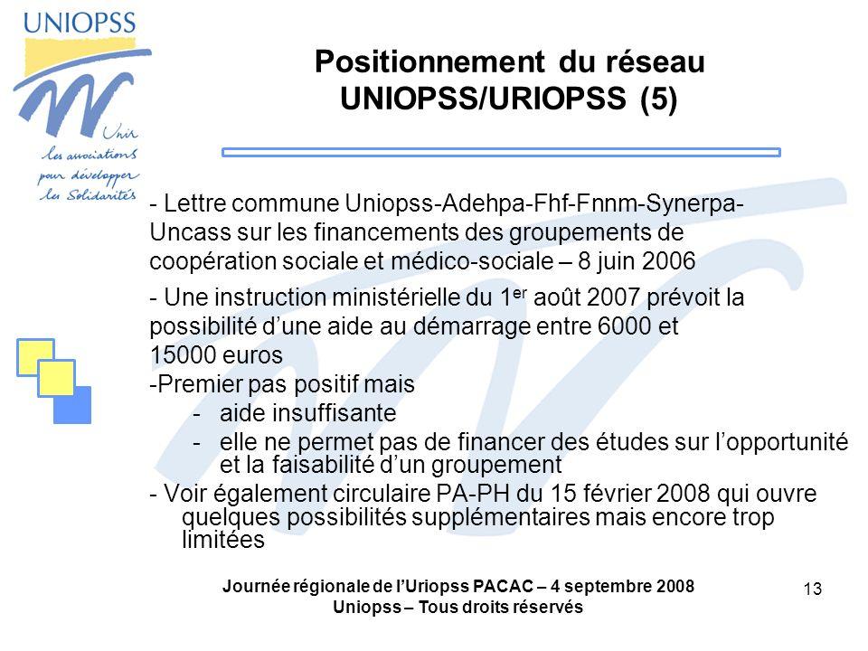 Journée régionale de lUriopss PACAC – 4 septembre 2008 Uniopss – Tous droits réservés 13 Positionnement du réseau UNIOPSS/URIOPSS (5) - Lettre commune
