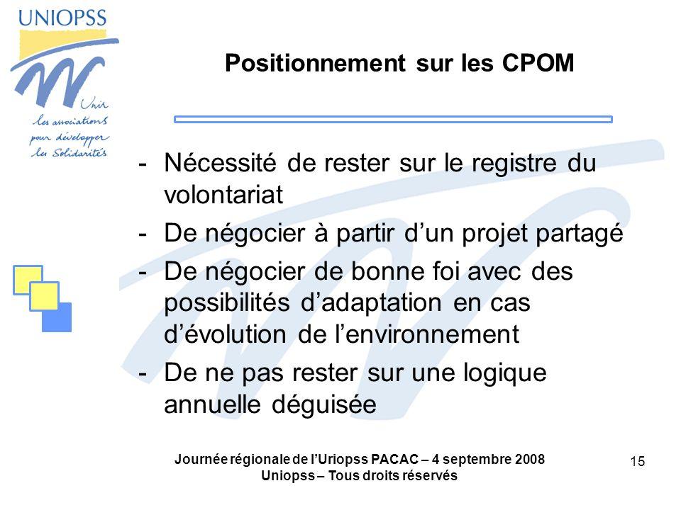 Journée régionale de lUriopss PACAC – 4 septembre 2008 Uniopss – Tous droits réservés 15 Positionnement sur les CPOM -Nécessité de rester sur le regis
