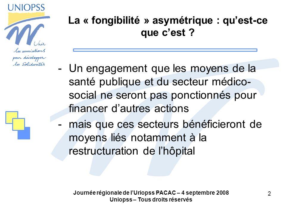 Journée régionale de lUriopss PACAC – 4 septembre 2008 Uniopss – Tous droits réservés 3 La « fongibilité » asymétrique : questions posées -Quelle croissance des moyens pour le médico-social et pour la santé publique en dehors de ce transfert denveloppe .