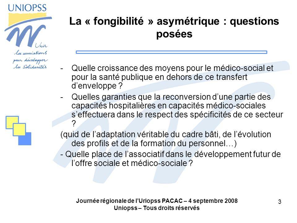 Journée régionale de lUriopss PACAC – 4 septembre 2008 Uniopss – Tous droits réservés 3 La « fongibilité » asymétrique : questions posées -Quelle croi