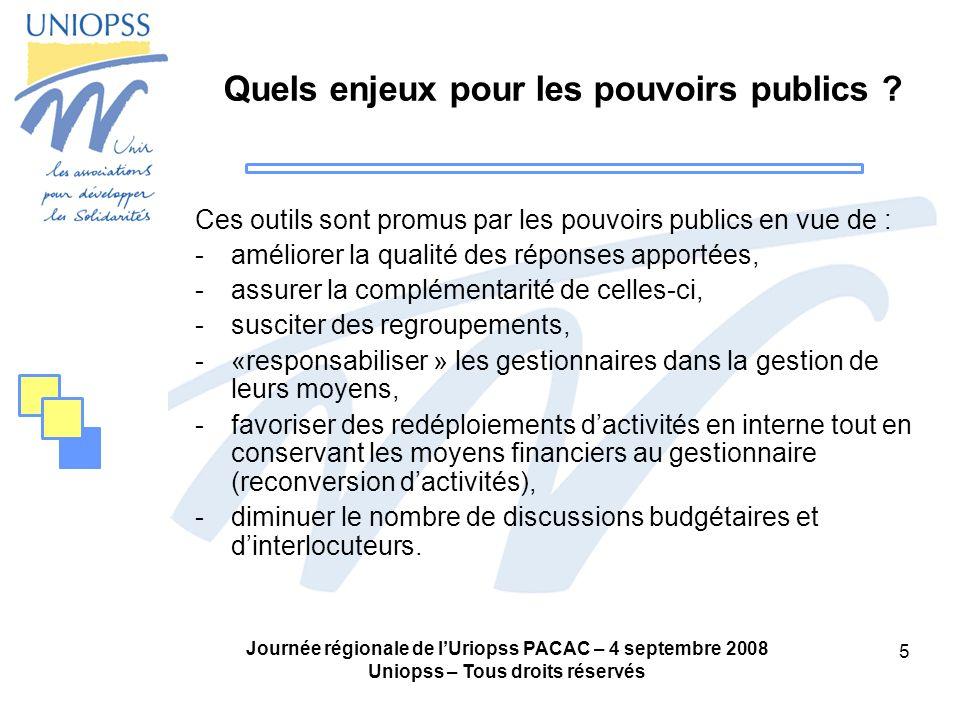 Journée régionale de lUriopss PACAC – 4 septembre 2008 Uniopss – Tous droits réservés 16 En conclusion, les GCSMS et CPOM sont : -des outils qui doivent rester au service dun projet -utiles sous certaines conditions à une partie des acteurs du secteur