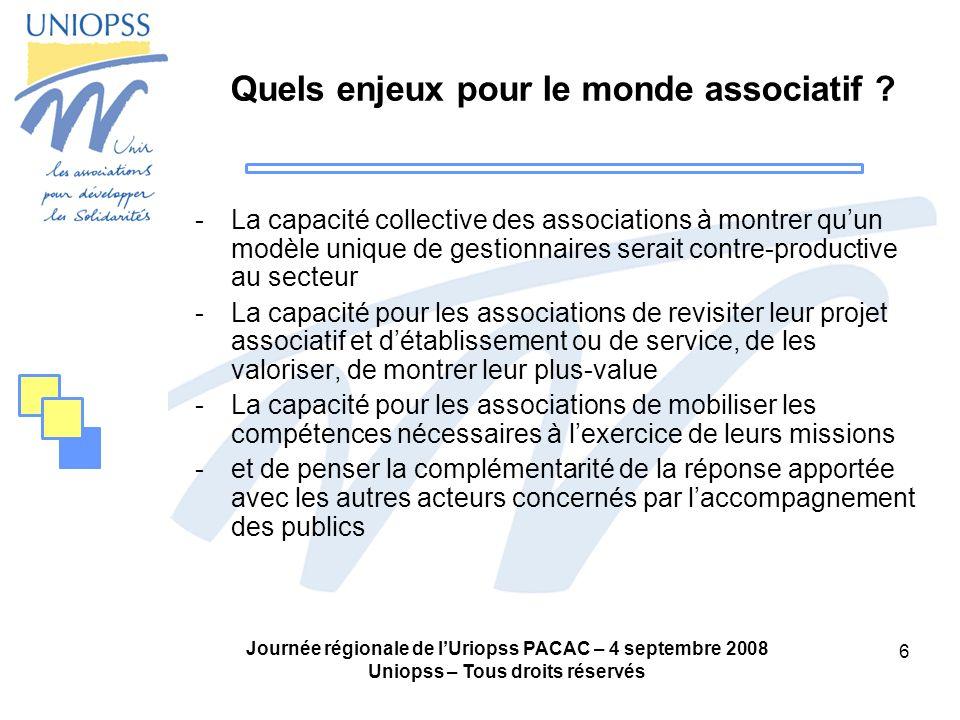 Journée régionale de lUriopss PACAC – 4 septembre 2008 Uniopss – Tous droits réservés 6 Quels enjeux pour le monde associatif ? -La capacité collectiv