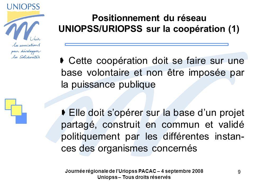 Journée régionale de lUriopss PACAC – 4 septembre 2008 Uniopss – Tous droits réservés 10 Positionnement du réseau UNIOPSS/URIOPSS (2) Elle nécessite de bien distinguer ce qui peut être mis en commun de ce qui doit demeurer du ressort de chacun des organismes gestionnaires.