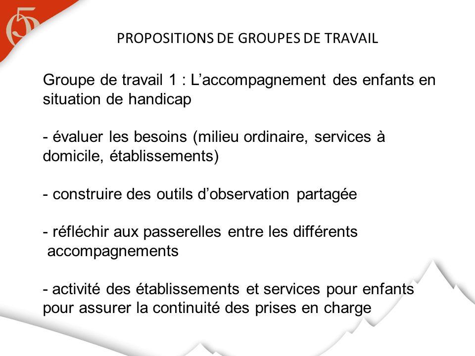 PROPOSITIONS DE GROUPES DE TRAVAIL Groupe de travail 1 : Laccompagnement des enfants en situation de handicap - évaluer les besoins (milieu ordinaire,