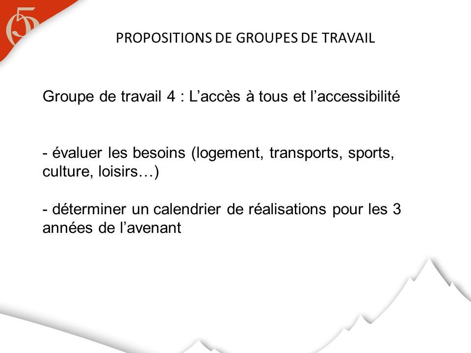 PROPOSITIONS DE GROUPES DE TRAVAIL Groupe de travail 4 : Laccès à tous et laccessibilité - évaluer les besoins (logement, transports, sports, culture, loisirs…) - déterminer un calendrier de réalisations pour les 3 années de lavenant