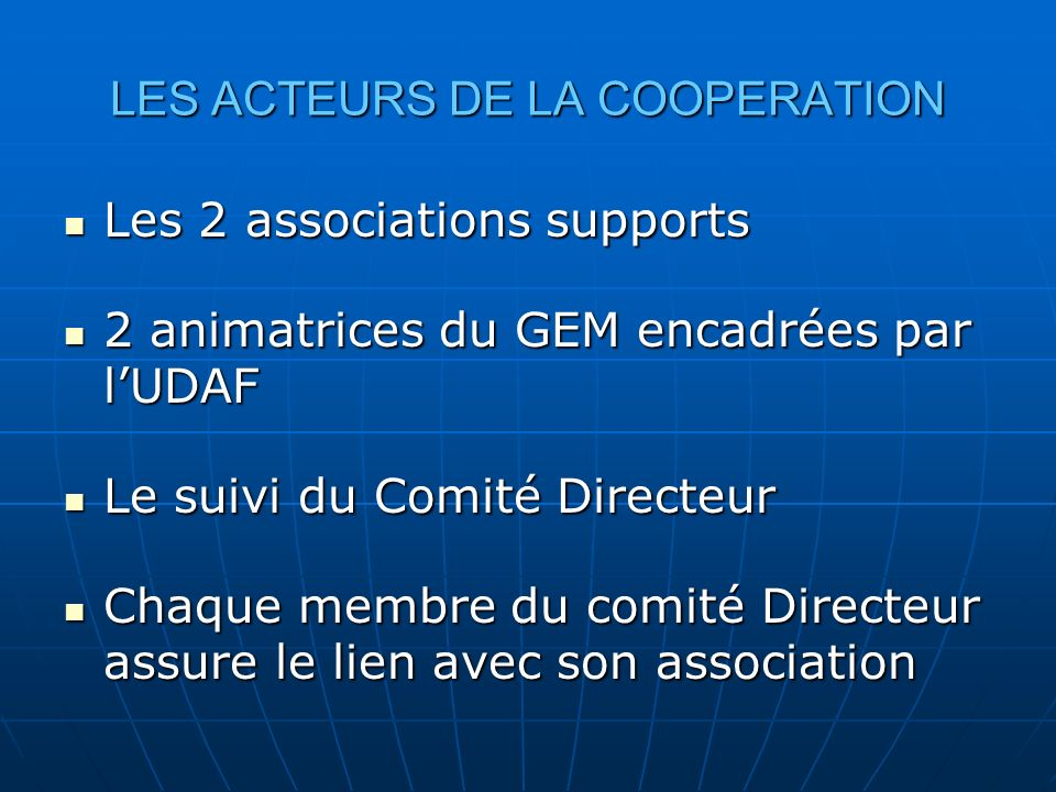 LES ACTEURS DE LA COOPERATION Les 2 associations supports Les 2 associations supports 2 animatrices du GEM encadrées par lUDAF 2 animatrices du GEM en