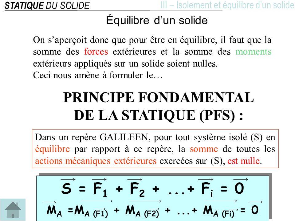 STATIQUE DU SOLIDE IV –Résolution des problèmes de statique Lobjectif de la statique est de calculer lensemble des actions mécaniques appliquées à un solide en équilibre.