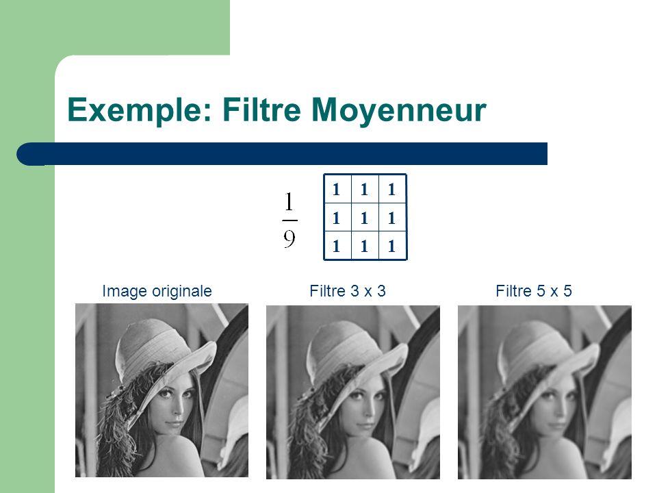 Exemple: Filtre Moyenneur 111 111 111 Image originaleFiltre 3 x 3Filtre 5 x 5