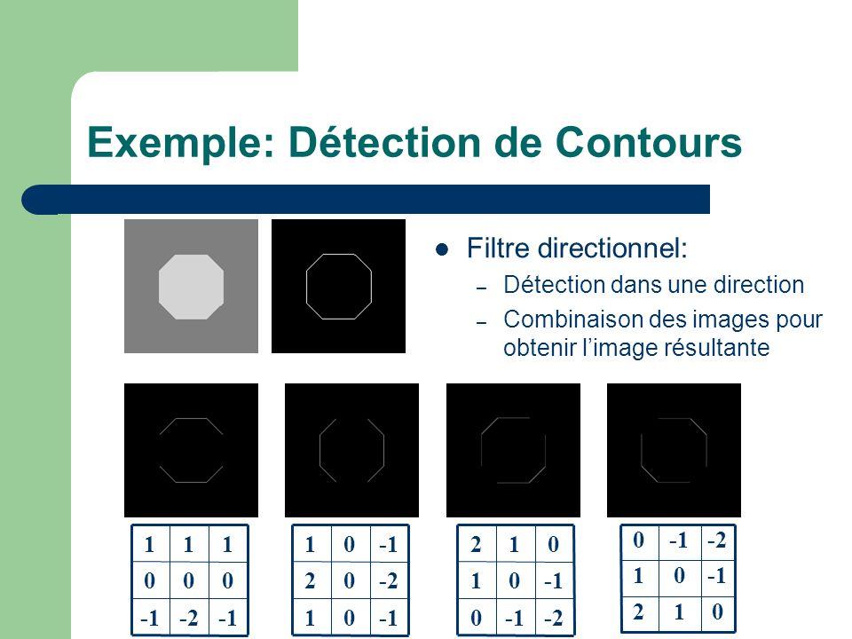 01 -202 01 -2 000 111 012 01 -20 -20 01 012 Filtre directionnel: – Détection dans une direction – Combinaison des images pour obtenir limage résultante